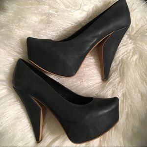 Matiko statement heels dark teal leather 7.5